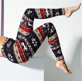 8fc3453ecb03f5 Ladies Christmas Fairisle Print Fleece Lined Leggings